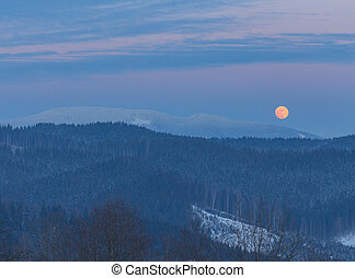 winterlandschaft, bergen, an, night., a, vollmond, und, starry, sky.