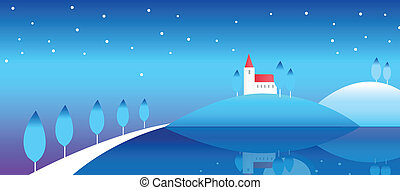 winterlandschaft, haus, hügel