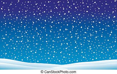 winterlandschaft, mit, fallender , schnee