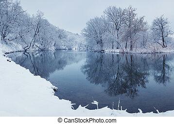 winterlandschaft, mit, fluß, in, wald
