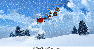 winterlandschaft, mit, santa, in, der, himmelsgewölbe