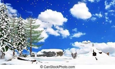 Winterlandschaft, Pinguin Faehrt Schlittschuh, Animation, -, 3D