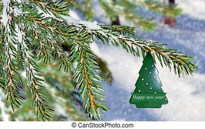 winterlandschaft, und, weihnachtsbaum