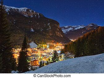 winterlandschaft, von, dorf, bergen
