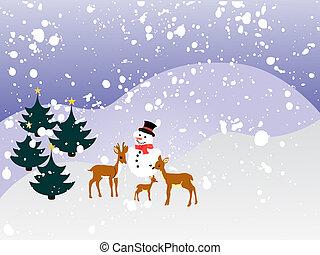 winterlandschaft, -, weihnachtskarte