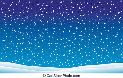 winterlandschap, met, het vallen, sneeuw