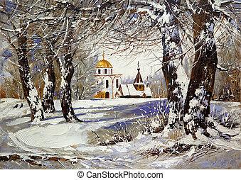winterlandschap, met, kerk, in, hout