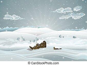 winterlich, landschaftsbild, sonnenaufgang, weihnachten