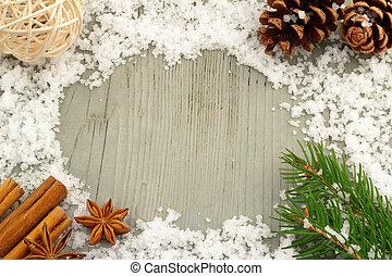 winterly wooden frame