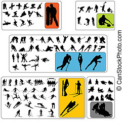 wintersport, silhouetten, sammlung