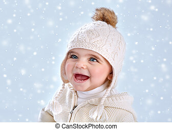 Wintertime baby fashion - Portrait of cute little baby girl...