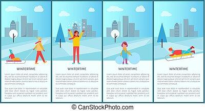Wintertime City Park Activity Vector Illustration
