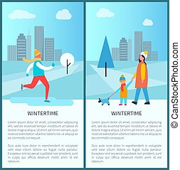 Wintertime City Park Posters Vector Illustration