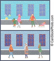 Wintertime Cold Season of Year People and Kids - Wintertime...