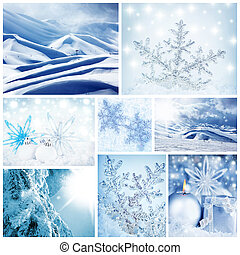 Beautiful wintertime concept collage with decorations, landscapes & macro snowflakes