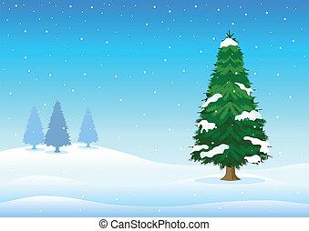 Wintertime - Vector illustration of pine tree in wintertime