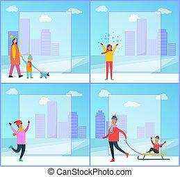 Wintertime Family, Cityscape Vector Illustration