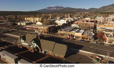 Wintertime Flagstaff Arizona City Center Downtown Aerial...