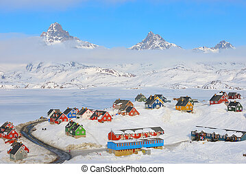 Wintertime with colorful houses in Tasiilaq, East Greenland