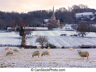 Wintertime in the Cotswolds - Cotswold sunset in winter,...
