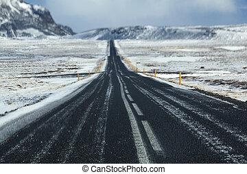 wintertime, kényes út, izland, nedves