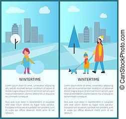 Wintertime Park Activities Vector Illustration