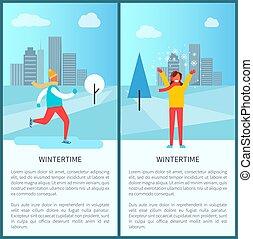 Wintertime Snowy City Park Vector Illustration