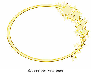Wintery Gold Star Frame - Gold oval frame with gold stars...