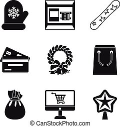 Wintery icons set, simple style - Wintery icons set. Simple ...