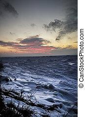 wintery, napnyugta, képben látható, tó huron, tengerpart
