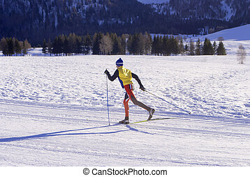 wintry landscape scenery with modified cross country skiing way. Bondone mountain in Trentino. Italy