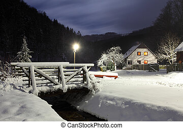 Wintry landscape with chalet.