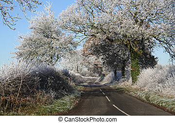 Wintry lane - Wintry and frosty country lane outside a ...