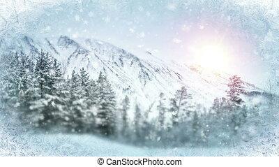 wintry scene through frozen window. seamless loop christmas...