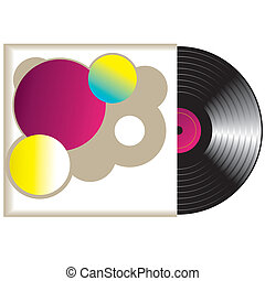 winyl, wektor, record., retro