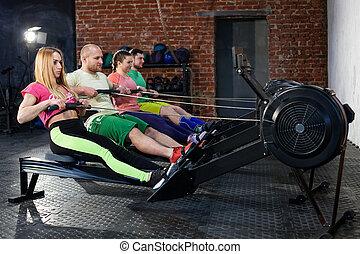 wioślarstwo, trening, maszyny, ludzie