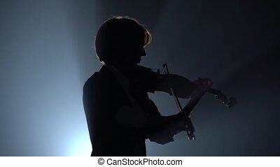 wiolinista, sylwetka, ciemny, tło., schyla się, studio, dym, skrzypce, czarnoskóry
