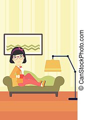 Wioman lying with cup of tea vector illustration.