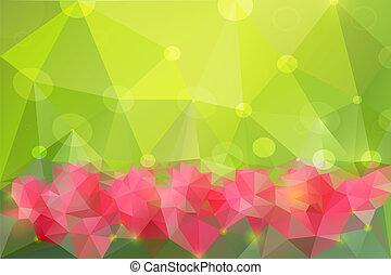 wiosna, abstrakcyjny, eps10., polygonal, tło., wektor
