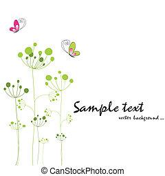 wiosna, barwny, motyl, flora