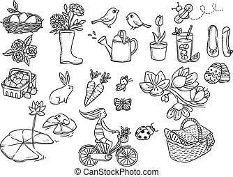 wiosna, biały, odizolowany, tło, doodle