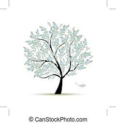 wiosna, drzewo, z, kwiaty, dla, twój, projektować