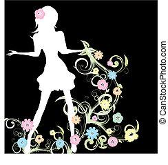 wiosna, dziewczyna, z, kwiaty, i, curlicue, na, czarne tło,...