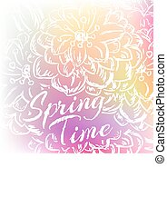 wiosna, flowers., wektor, tło, ilustracja