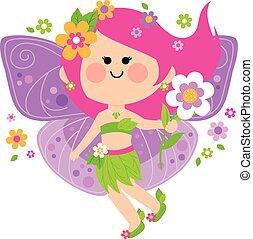 wiosna, flowers., wektor, wróżka, ilustracja
