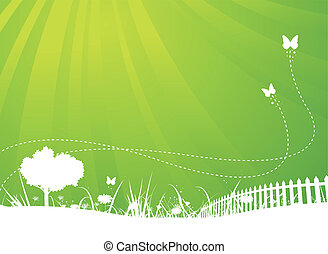wiosna, i, lato, motyle, ogród, tło
