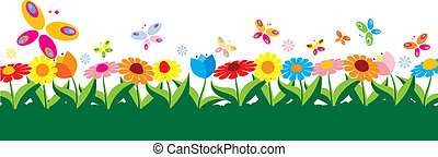 wiosna, ilustracja, wektor