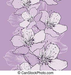wiosna, jabłko, seamless, tło, hand-drawing., kwiaty
