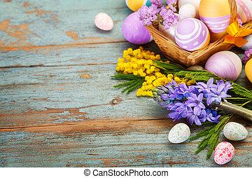 wiosna, jaja, kwiaty, wielkanoc