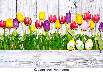 wiosna, jaja, wielkanoc, barwny, tulipany